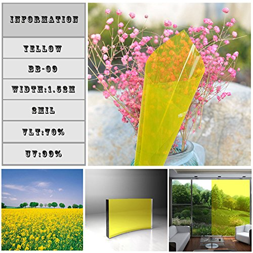 HOHO 0.7mx30m Transparent Yellow Colored Privacy Window Film Heat Control Tint by HOHO