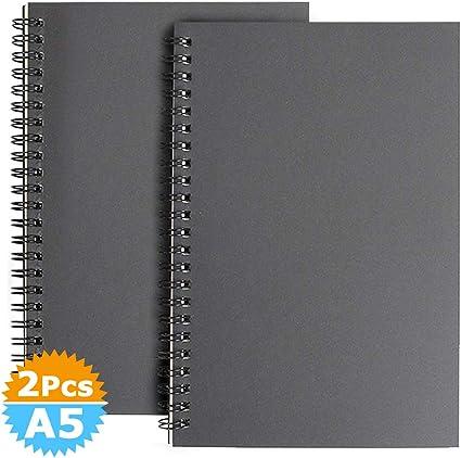 A5 Cuaderno de Bocetos Espiral, Pack de 2 Bosquejo de Papel en Blanco Blocs de Notas Cubierta de Kraft, 100 Páginas, 50 Hojas Libreta Perfecto para Viajar, Negra: Amazon.es: Oficina y papelería