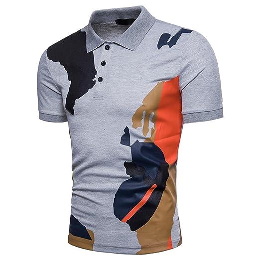 2624abbbadde Amazon.com  Elogoog Mens s Fashion New 2018 Short Sleeve Leisure Polo T- Shirt Camo Print Casual Slim Fitted Poloshirt Tee Shirt  Clothing