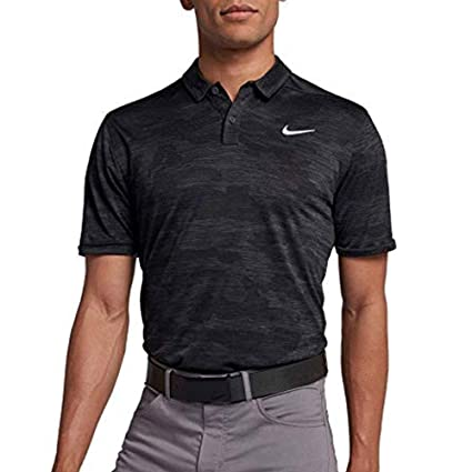 df11c8642 NIKE Zonal Cooling Camo Golf Polo 2018 Anthracite Black Flat Silver Medium