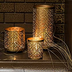 Candle Holders Metallic Set of 3 by KRIXOT in Gold with Beautiful Flickering Reflections | Complimentary 3 Glass Votive Candles | Ideal for Gifting, Home Decor and Wedding Decorations