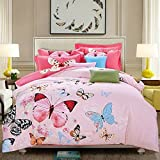 LELVA Butterfly Pattern Cotton Bedding Sets Bedding for Girls and Colorful Bedding, Queen King Size 4pcs (1, Queen)