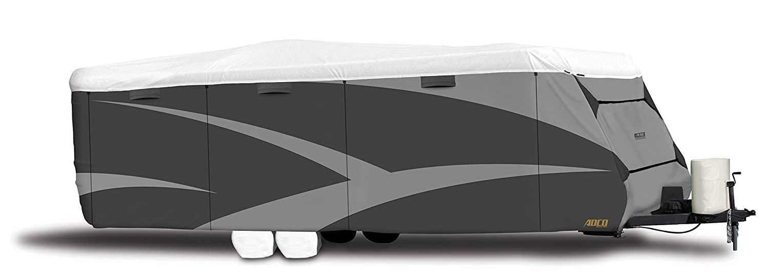 "ADCO 34839 Designer Series Gray/White 15' 1"" - 18' DuPont Tyvek Travel Trailer Cover"