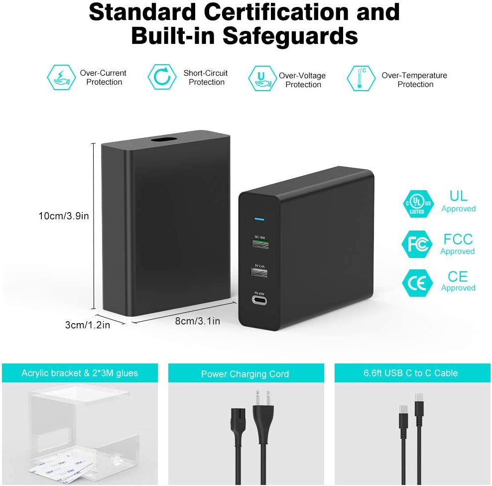 USB C Charger Charging Station for MacBook Pro MacBook Air 2018 Galaxy 11 18W QC 3.0 LG iPad Pro 12.9 Pixel 12W USB Charger for iPhone 75W Multi Port Wall Charger with 45W USB C Port 9.8ft