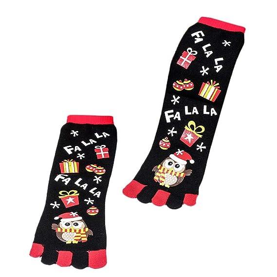 Kinlene Navidad Unisec Imprimir Multicolor Toe Calcetines Cinco dedos Calcetines de algodón Calcetines divertidos: Amazon.es: Ropa y accesorios
