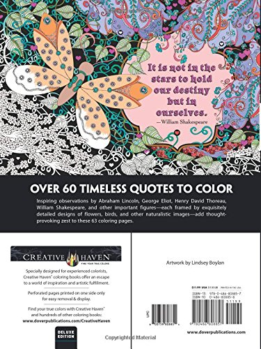 amazoncom creative haven deluxe edition artful quotes coloring book adult coloring 0800759808854 lindsey boylan books