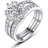 Anillos De Compromiso Aniversario Matrimonio Platinum Plated Couple Flower Ring Bridal Set for Women with AAA