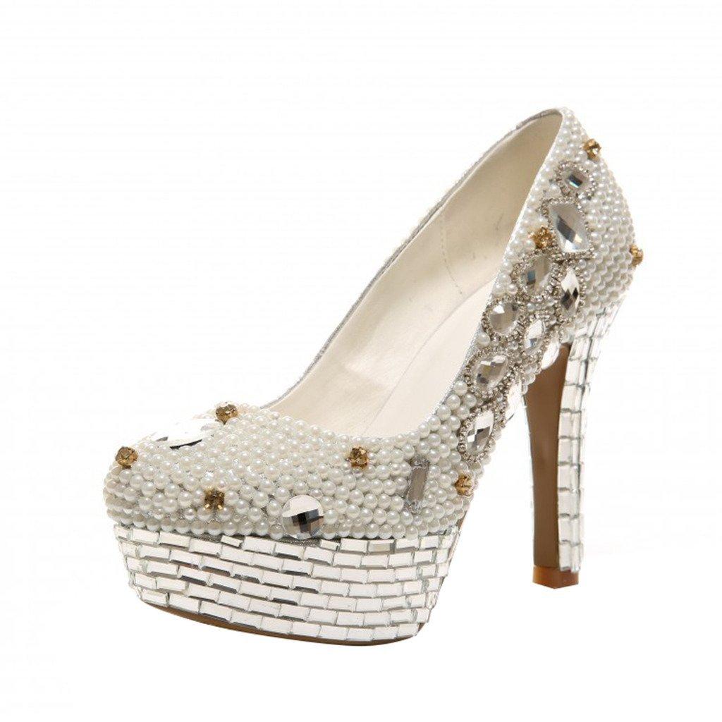 [Optimal Product] 最適な女性用高ヒールプリンセスウェディング靴パールダイヤモンドすべてMade by Hand B01FVW77GQ  8.5 B(M) US