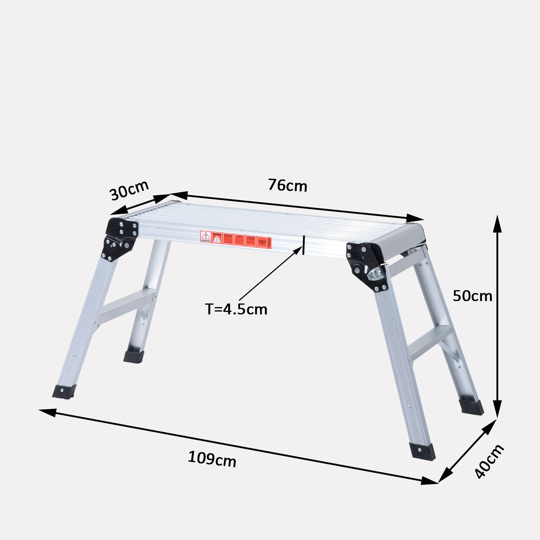 Homcom Arbeitsplattform Alu Trittbank Trittleiter Arbeitsb/ühne Ger/üstleiter Werkstatt klappbar
