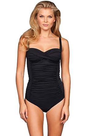 91d812e149b1d Kallure Black Twist Front Underwire One Piece Swimsuit at Amazon Women's  Clothing store: