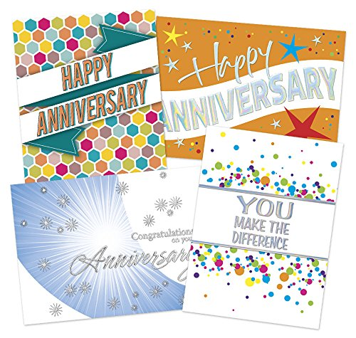 (50 Employee Anniversary Cards - 4 Unique Designs - 52 White Envelopes - Eco Friendly)