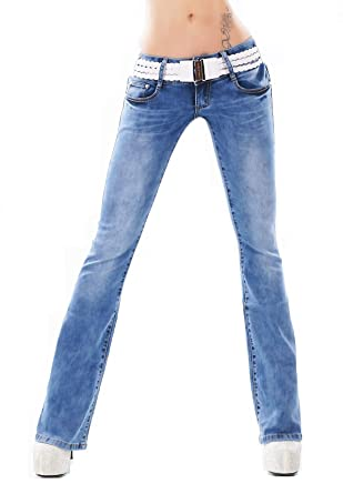 ce7ac1d0ced Sexy Womens Stretch Denim Boot Cut Hipster Jeans Light Blue + Belt 6 8 10 12