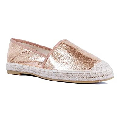f7ce822570931 TheRightPair Women's Fashion Closed Toe Espadrille Loafer Flats Slip On  Glitter Woven Casual Shoes MY18 Champagne