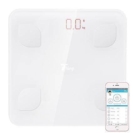 Thinp Báscula de Baño Digital con Análisis Grasa Corporal Electrónico Control por APP y Bluetooth,
