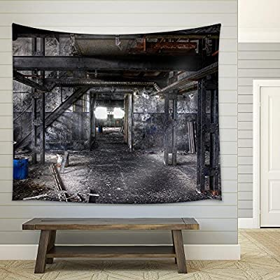 Premium Creation, Stunning Expert Craftsmanship, Abandoned Dirty Paint Factory in East Germany Fabric Wall