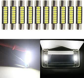 """JAVR - Pack of 10-31MM(1.25"""") Xenon White Extremely Bright 4014 9SMD Festoon LED Bulbs for Honda 12V 28-31mm Halogen Sun Visor Vanity Mirror Light Bulb Stock #: 6615F 6612F 3021 3022 3175 T-2 SF6/6"""