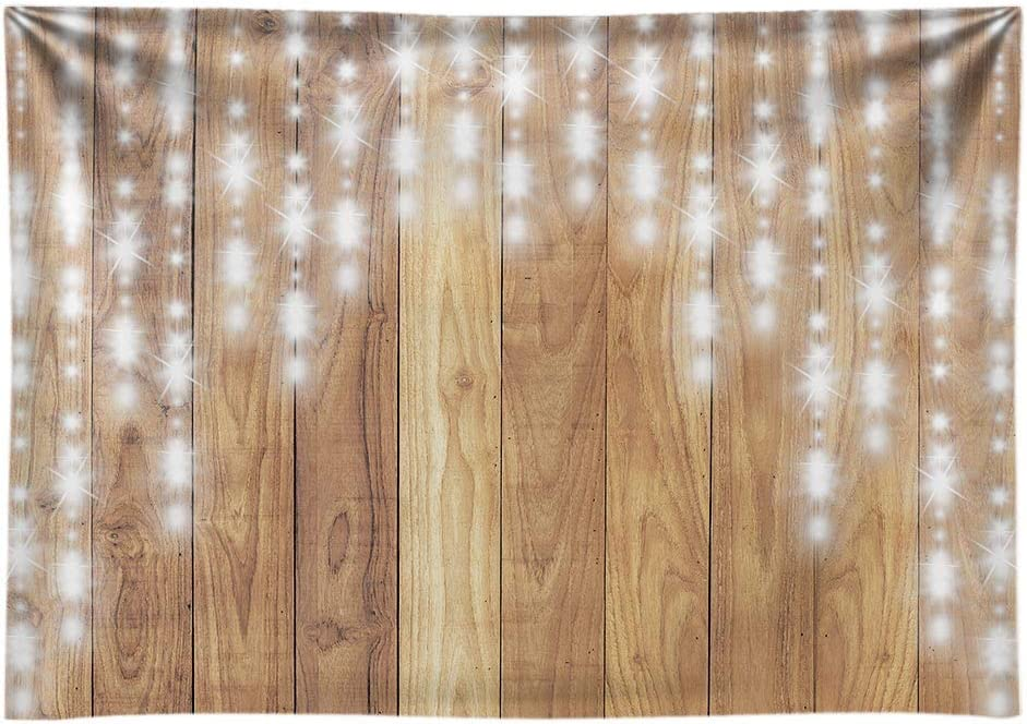 Funnytree 7x5ft Durable Fabric Rustic Wooden Wall Party Backdrop No Wrinkles Wedding Retro Wood Floor Photography Background Glitter Sparkle Bridal Shower Baby Birthday Banner Photo Studio Props