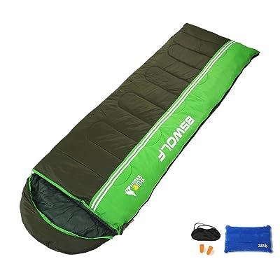 COCO Sac de couchage de camping en plein air Printemps Eté Garder au chaud Double équipement de couture piquante portable ( Couleur : Army Green )