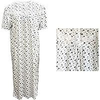 Zmart Women's 100% Cotton Short Sleeves Nightie Night Gown Pajamas PJs Sleepwear Dress