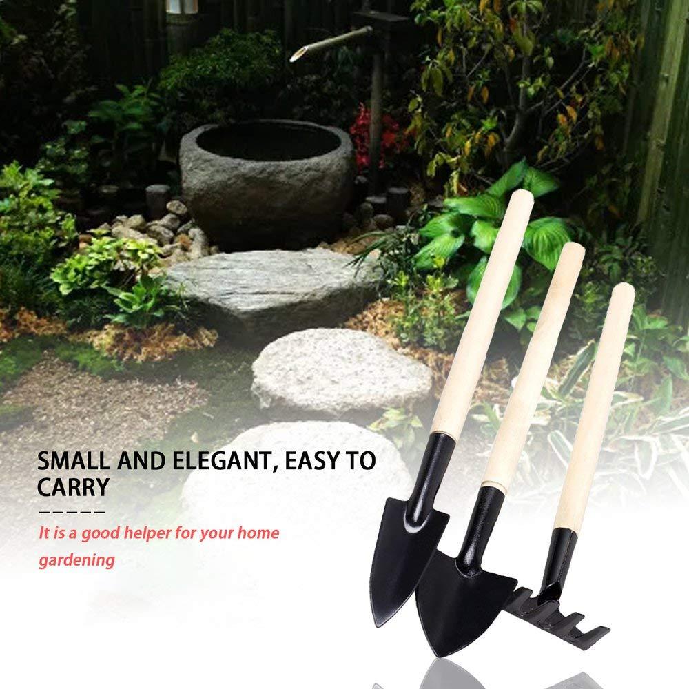 Attrezzi da Giardinaggio a Manico Lungo 3PCS Set Manico in Legno Testa di Metallo Pala Rake Spade Nero Beige