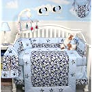 SoHo Modern Blue Camouflage Baby Crib Nursery Bedding Set 13 pcs included Diaper Bag with Changing Pad & Bottle Case