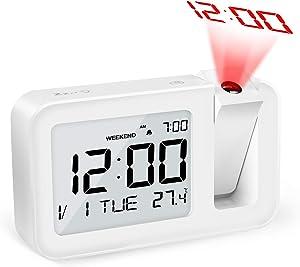 "TedGem Digital Alarm Clock, Alarm Clock Projection Alarm Clock Dual Alarm Clock 3.8"" LED Alarm Clock Large Number Clock 4 Brightness, Snooze, 2 Alarm Sounds, for Bedroom, Office, Kitchen (White)"