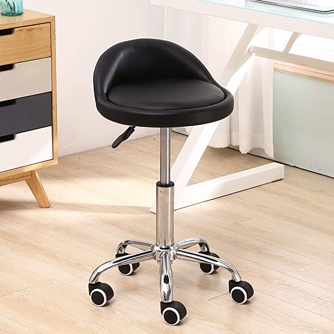 KKTONER PU Leather Round Rolling Stool with Back Rest Height Adjustable Swivel Drafting Work SPA Medical Task Chair with Wheels Black