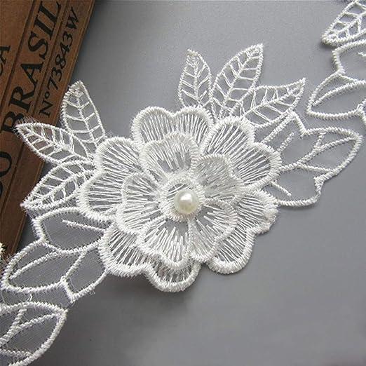 3 Yards White Vintage Rose Flower Lace Trim Wedding Ribbon Applique Sewing Craft
