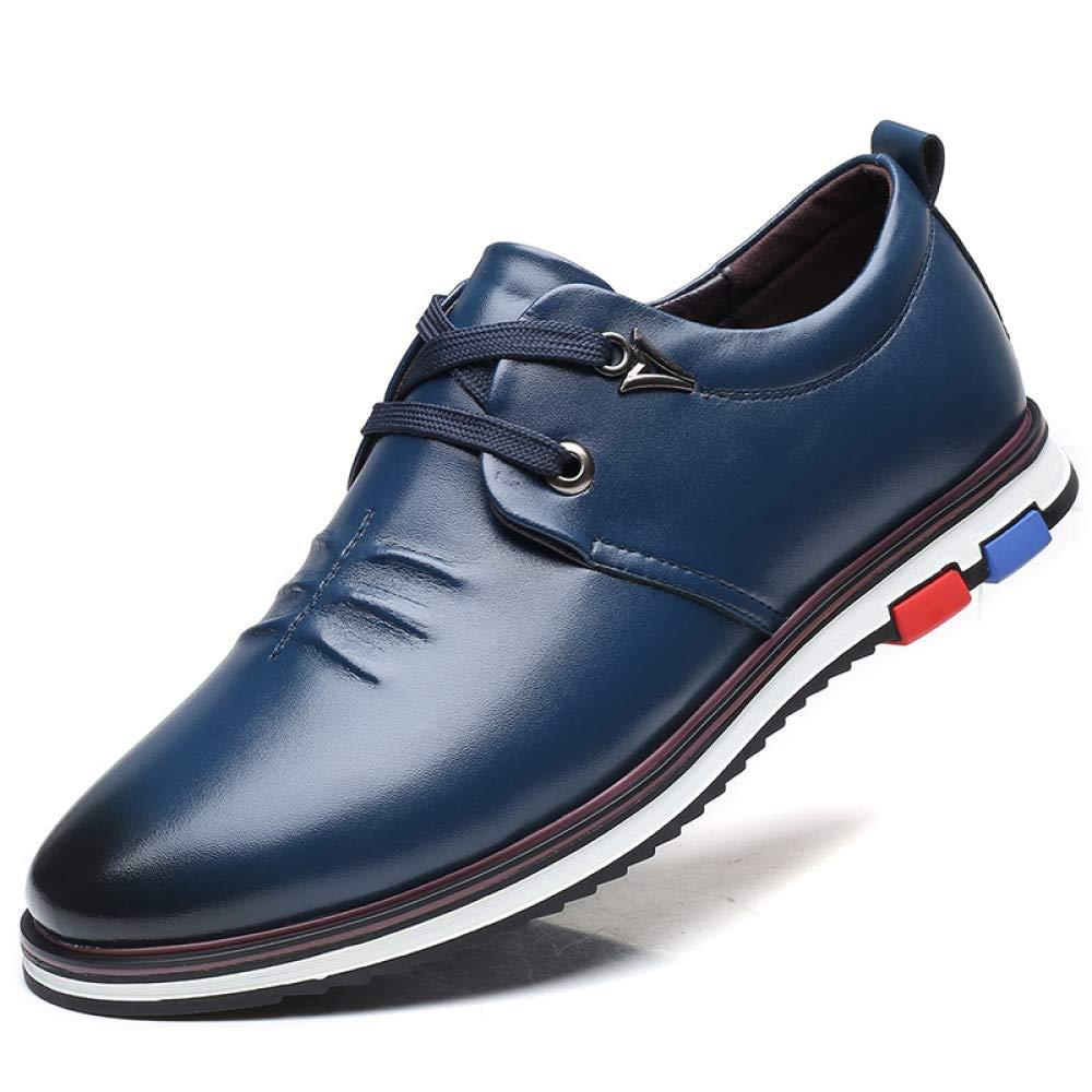 LYZGF Hombres Adultos Zapatos De Cuero Ocio con Cordones Planos Cómodo Negro Marrón Azul 40 EU|Blue Blue