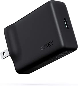 AUKEY USB C Charger 27W Quick Charge 3.0 USB Wall Charger, Compatible with iPhone SE, iPhone 11 Pro Max, MacBook, iPad Pro Air, Google Pixel 4 / 4XL, Nintendo Switch