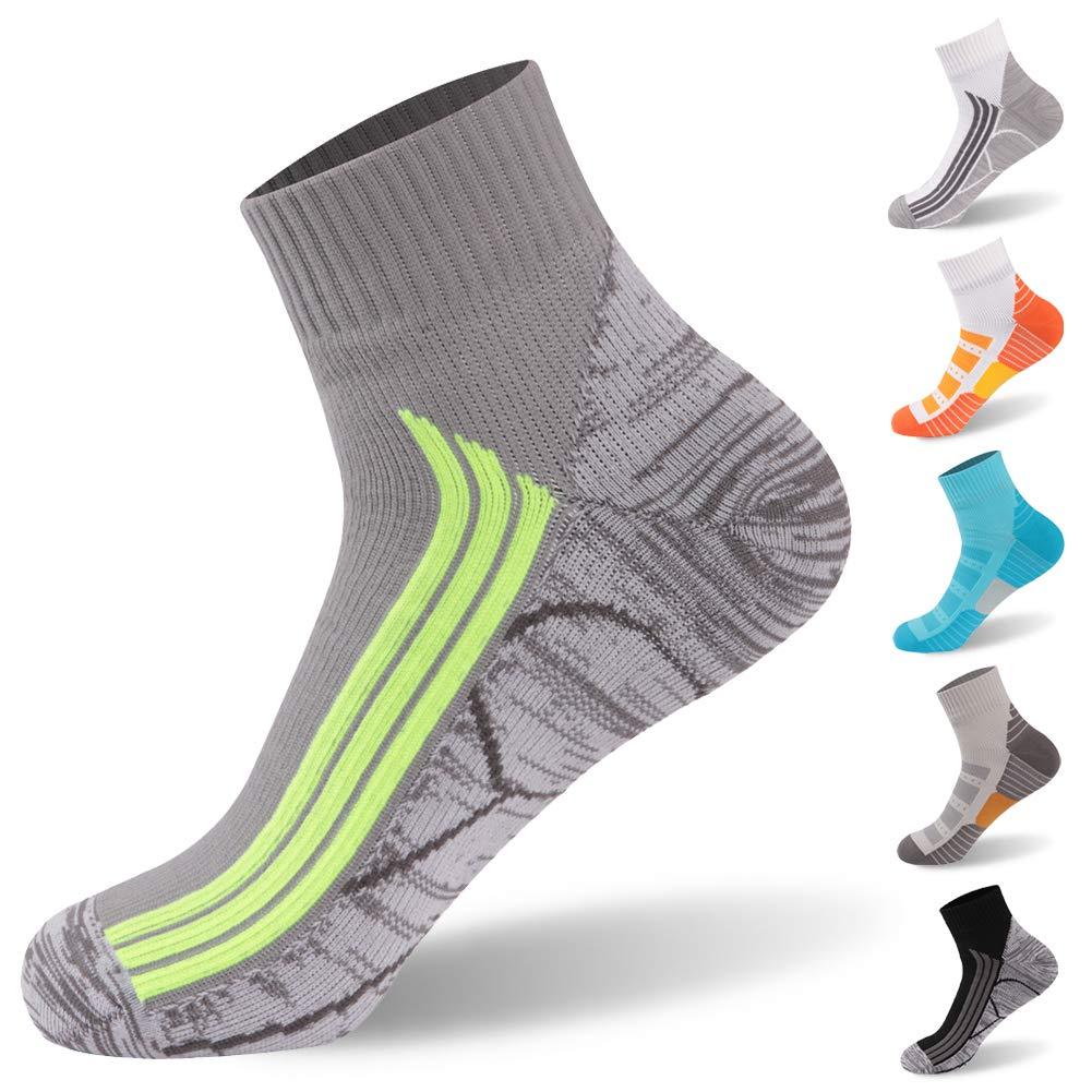 RANDY SUN 100% Waterproof Socks, Breathable High Visibility Unisex Running Hiking Socks, 1 Pair-Grey-Ankle Socks,Small