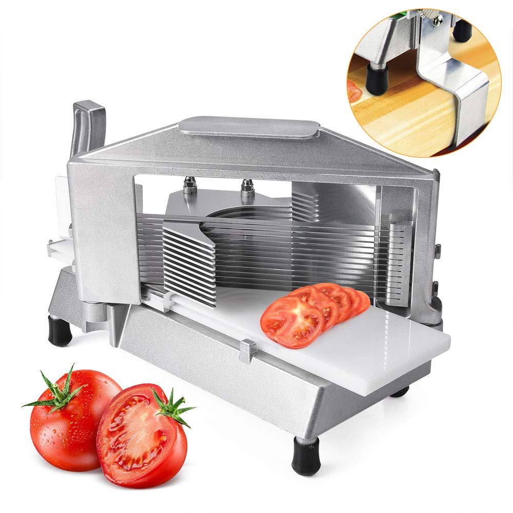Commercial Tomato Slicer 3/16'' Heavy Duty Tomato Cutter with Built-in Polyethylene Slide Board for Restaurant or Home Use by Seeutek