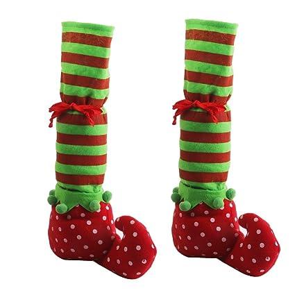 Elfi Tavolo Gamba 1 Decorazioni Pixnor Partito Scarpe Elf Coperture Gambe Coppia Natale Piedi vyf6bY7g