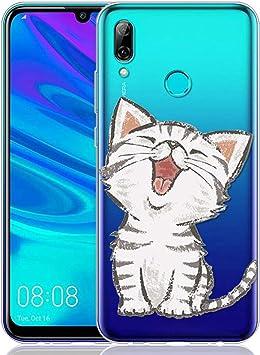 ZhuoFan Funda Huawei P Smart 2019, Cárcasa Silicona Transparente con Dibujos Diseño Suave Gel TPU Antigolpes de Protector Case Cover Fundas para Movil Huawei PSmart 6,21 Pulgadas, Gato Sonriente: Amazon.es: Electrónica