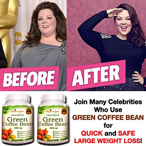 100% Pure Green Coffee Bean Extract - 120 Capsules - Max Strength Natural GCA Antioxidant Cleanse for Weight Loss, 1000mg w/ 50% Chlorogenic Acid per Pill, 1600mg Daily Supplement, - Bean Coffee Max