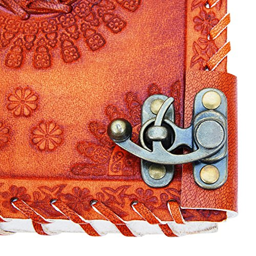 Back To School Supplies Leather Journal Diary Writing Notebook Personal Travel Diary Unlined Paper Sketchbook Doodle Art Book Recipe Book Organizer 8 x 6 Inches Anniversary Gifts For Him & Her by The Great Indian Bazaar (Image #4)