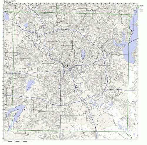 Working Maps Dallas County, Texas TX Zip Code Map Not Laminated