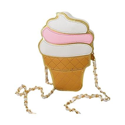 c88070db2d60 Cartoon bag - TOOGOO(R)New Cute Cartoon Women Ice cream Cupcake Mini Bags  PU Leather Small Chain Clutch Crossbody Girl Shoulder Messenger bag£¨White  ...