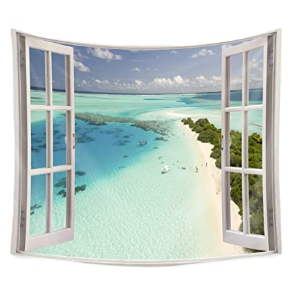 QCWN Wood Window Tapestry,Ocean Scenery Sand Sea Beach Theme Tapestry Wall  Hanging for Bedroom Living Room Dorm.