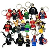 18 Piece/ Set Super Hero Avenger Key Chains and Key Ring Mini Figure Building Blocks Model Minifigures Pack in Sealed Bag.