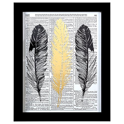 Rivet Metallic Feathers Vintage Dictionary Print, Black Frame, 20