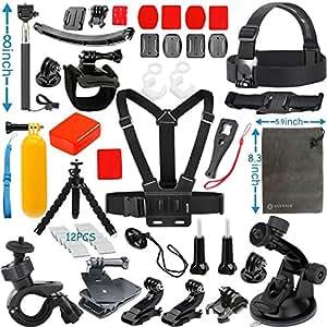 Vanwalk Bundel Kit de Accesorios de Deporte para Cámara Gopro Hero 5 4+ 3+ 2, SJcam SJ4000 SJ5000 SJ6000 SJ7000, Xiaomi Yi, DBPOWER - (23 en 1)