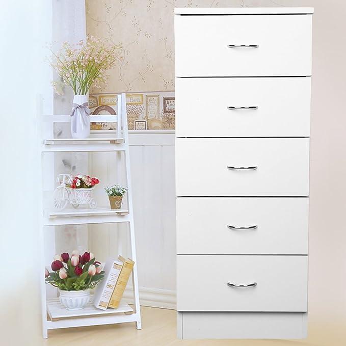 Homgrace Cajonera de melamina con 5 cajones, cómoda de melamina Color Blanco Brillo, Dimensiones 34.3 x 88.5 x 33cm