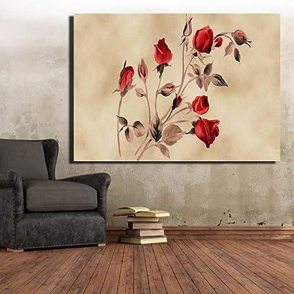 ZJMI Peinture Décorative Fleurs Rose Rouge Toile Tableaux ...