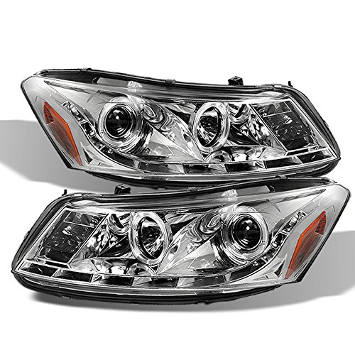 (For Honda Accord Chrome Clear Dual Halo Ring DRL LED Strip Projector Headlights Front Lamps Replacement)