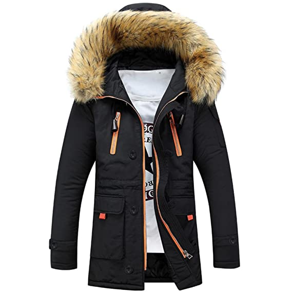 bc899ba5cc1c Toamen Unisex Women Men Warm Winter Cotton Fleece Lined Parka Faux Fur  Hooded Jacket Coat,