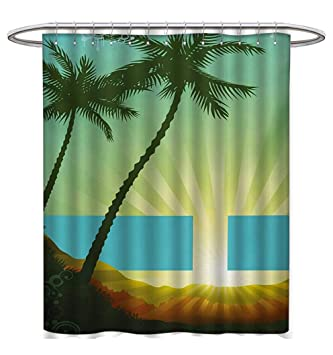 Island Shower Curtains Sets Bathroom Sunrise In A Tropical Place And Palm Trees Silhouettes Illustration Art
