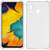 TIYA Funda para Samsung Galaxy A30 y A20 Carcasa Bumper,Shock-Absorción TPU Transparente con Cuatro Esquinas Espesamiento