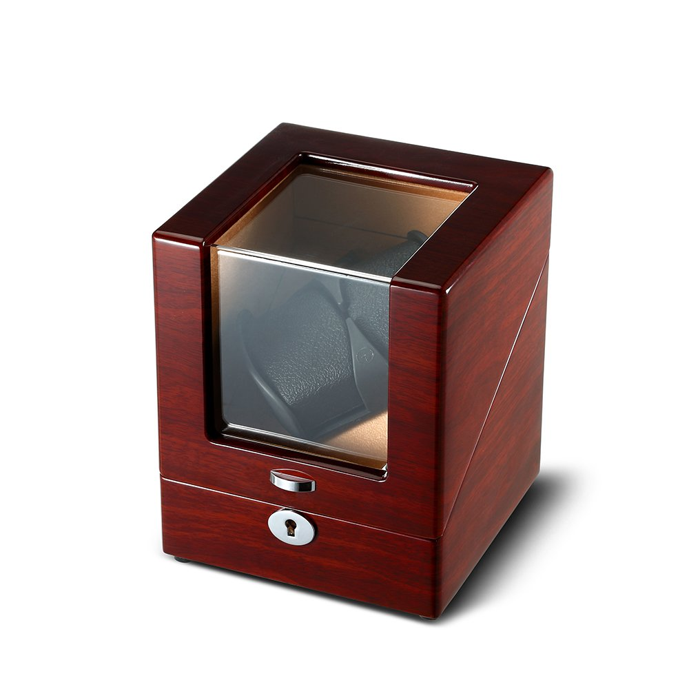 OLYMBROS Wooden Single Automatic Watch Winder Storage Box for 2 Watches with LED Light by Olymbros (Image #4)