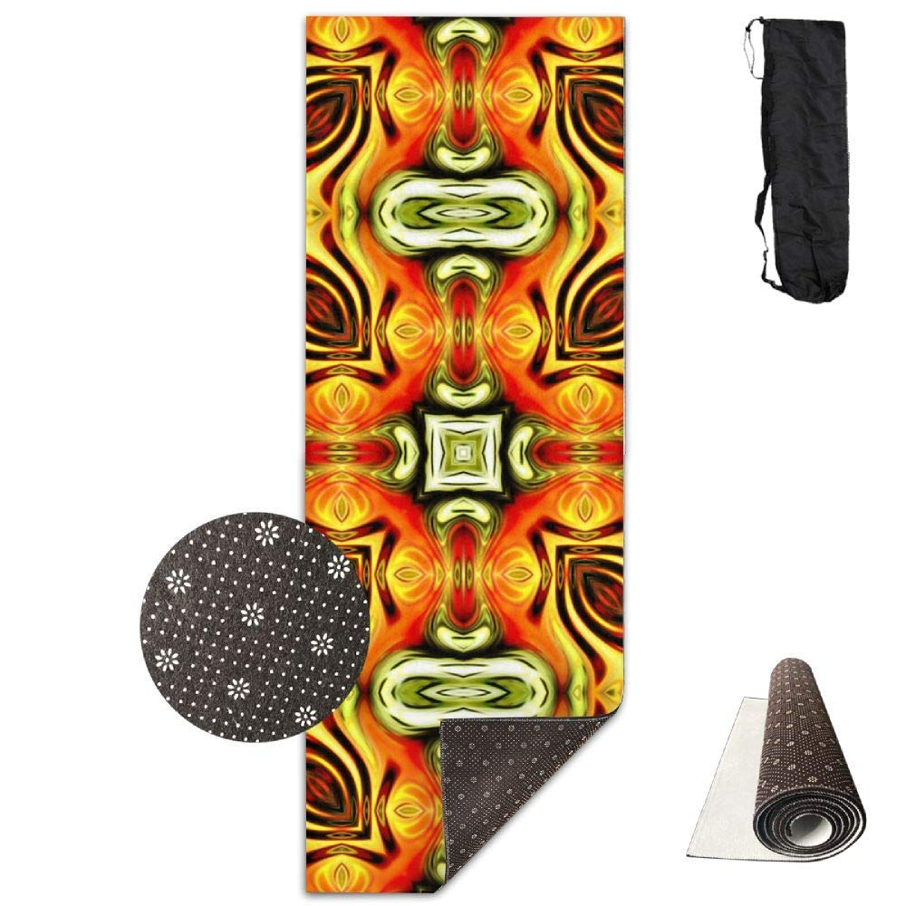 70Inch Long 28Inch Wide Comfort Velvet Yoga Mat, color Kaleidoscope Mat Carrying Strap & Bag